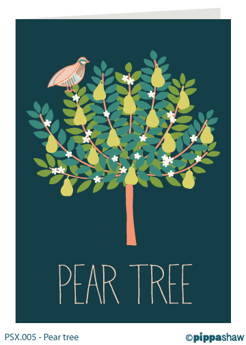 Pear tree Christmas card by Pippa Shaw