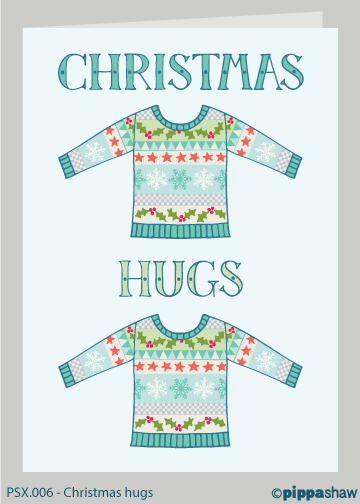 Christmas hugs Christmas card by Pippa Shaw