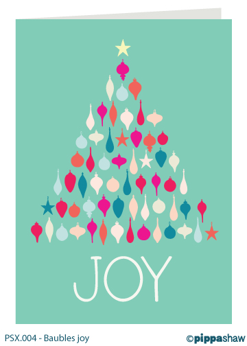 Baubles joy Christmas card by Pippa Shaw