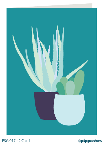 2 Cacti Greetings Card by Pippa Shaw