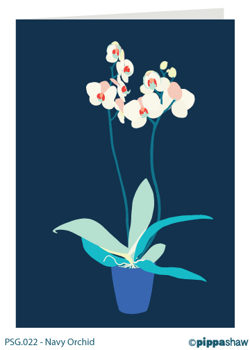 Navy Orchid Greetings Card by Pippa Shaw