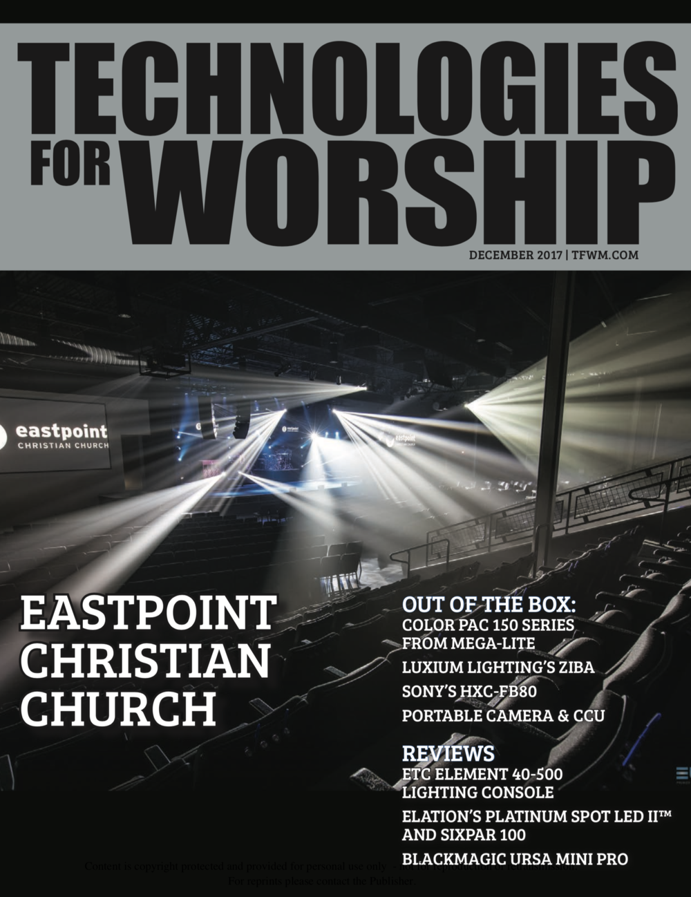 Front Page Article in Technologies for Worship Magazine - Photo By Tim Messina/Events United