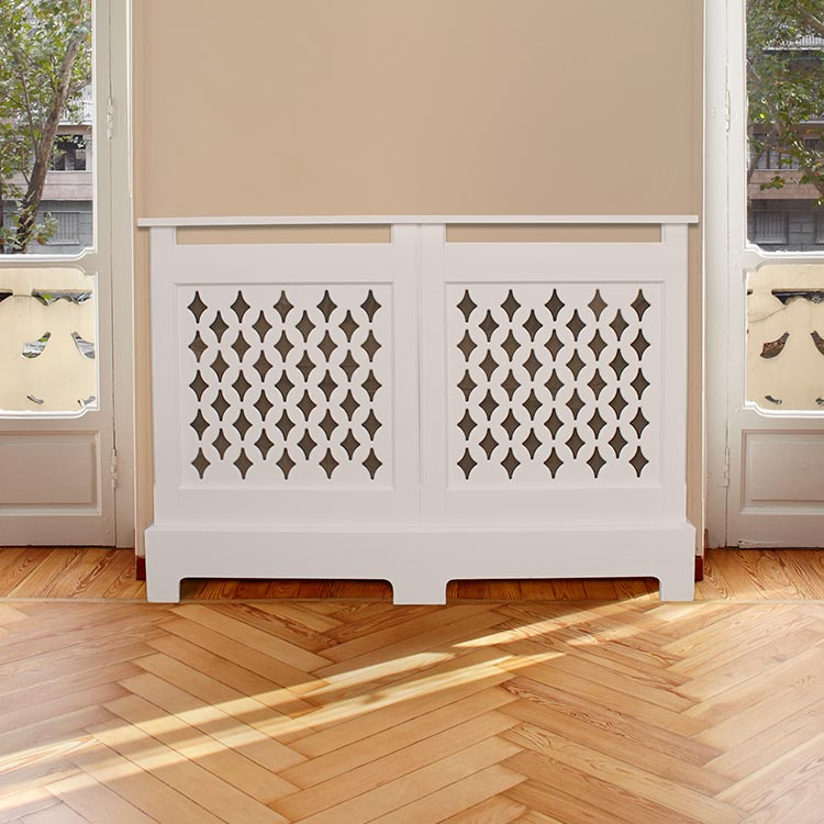 Diamond grilled radiator covers. Perfect with period house features.