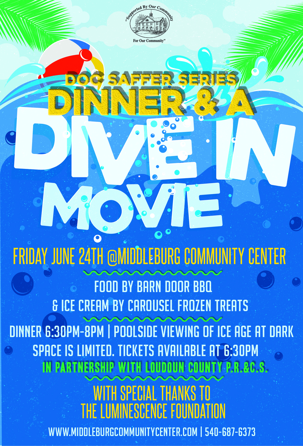 Dinner a dive in movie middleburg community center - Dive in movie ...