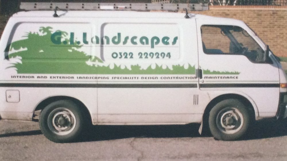 Just one of many van models – sporting one of many re-brands – tried out by G.I. Landscapes