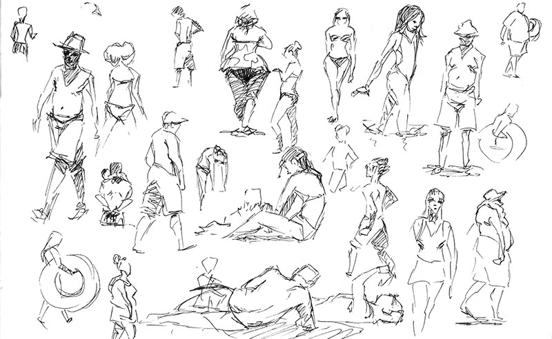 The Beach Is One Of My Favorite Places To Sketch People Its Very Nearly Like Life Drawing But With A Much Larger Variety Models
