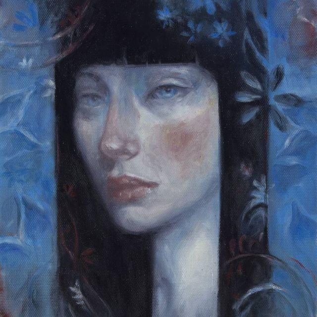 "Oh hi! I have new art available on @everydayorig ! ""Blue"" is 9x9 oil on canvas. She was a peaceful meditation in color and shape.  Check out everydayoriginal.com for this piece and more beautiful art."