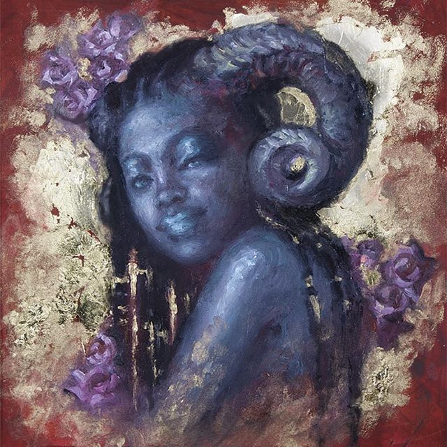 In case you missed it yesterday,  I have a new painting up on @everydayorig . Devotion is another beautiful goddess and hold leaf exploration. The subtle blues and greens in her skin really compliment the gold nicely. Head to everydayoriginal.com to see her!
