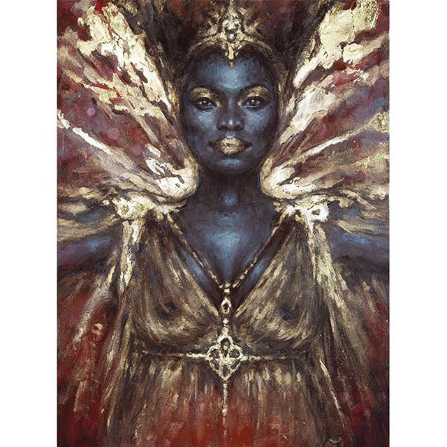 """Kings came one after the other to knock her off her throne. They didn't last long."" ""BILQUIS"" 5"" x 7"" Oil and gold leaf on panel  Painting available via @everydayorig Everydayoriginal.com  I am so excited to see more of this character in Season 2 of @americangodsus #americangodsstarz"
