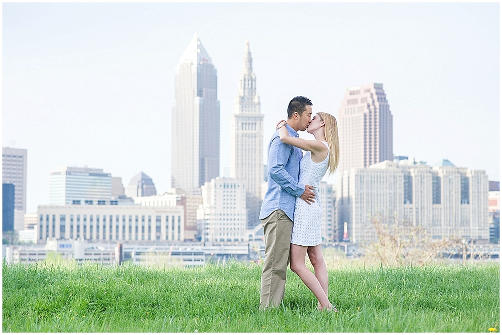 Cleveland Wedding Photographer Engagement Session downtown city backdrop