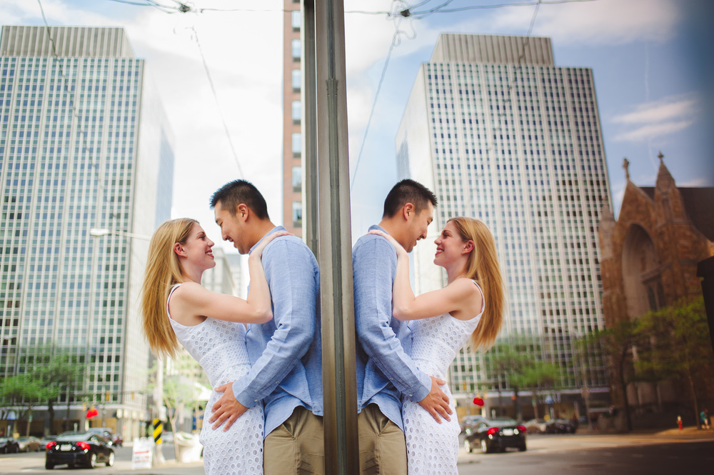 Cleveland Wedding Photographer Engagement Session downtown