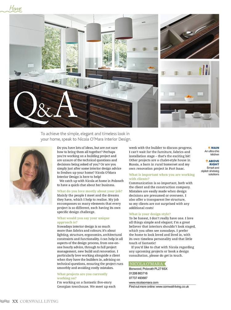 Lovely to be interviewed by Cornwall Living Magazine!