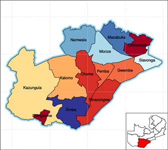Southern Province. Siavongo is shown in pale blue on the eastern most corner