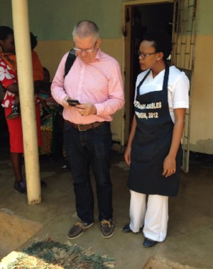 Technology Trustee Ian Clarke (with new Nurse Sylvia Bwalya) carrying out some connectivity testing at Chanyanya, where our service/beneficiaries has experienced technical issues.