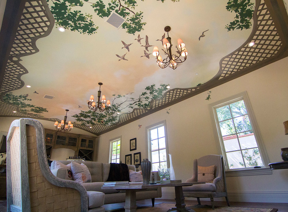Poolhouse, Birds and Lattice Ceiling
