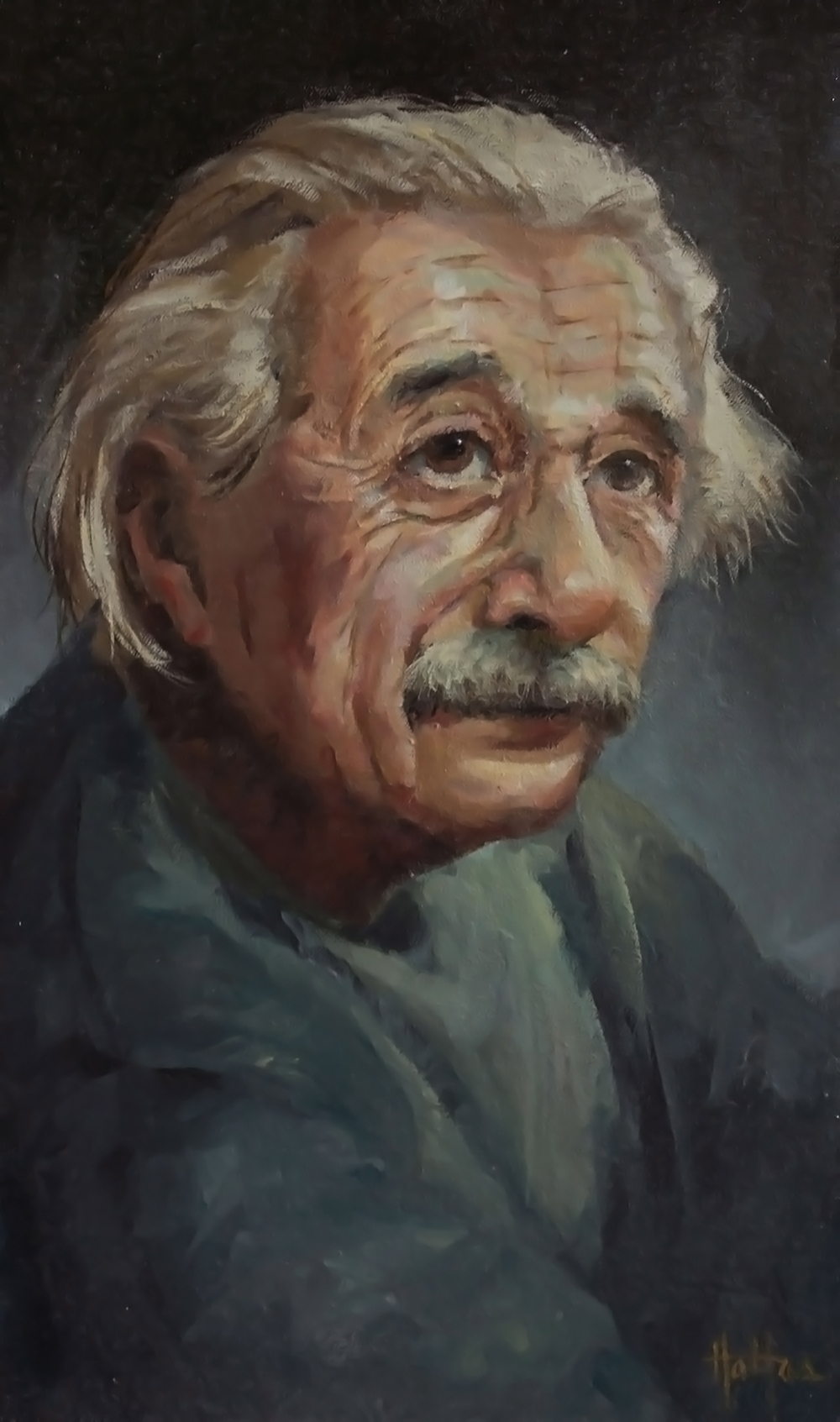 "Einstein, 11"" x 16"" Oil on Panel  _______   PRICING $"