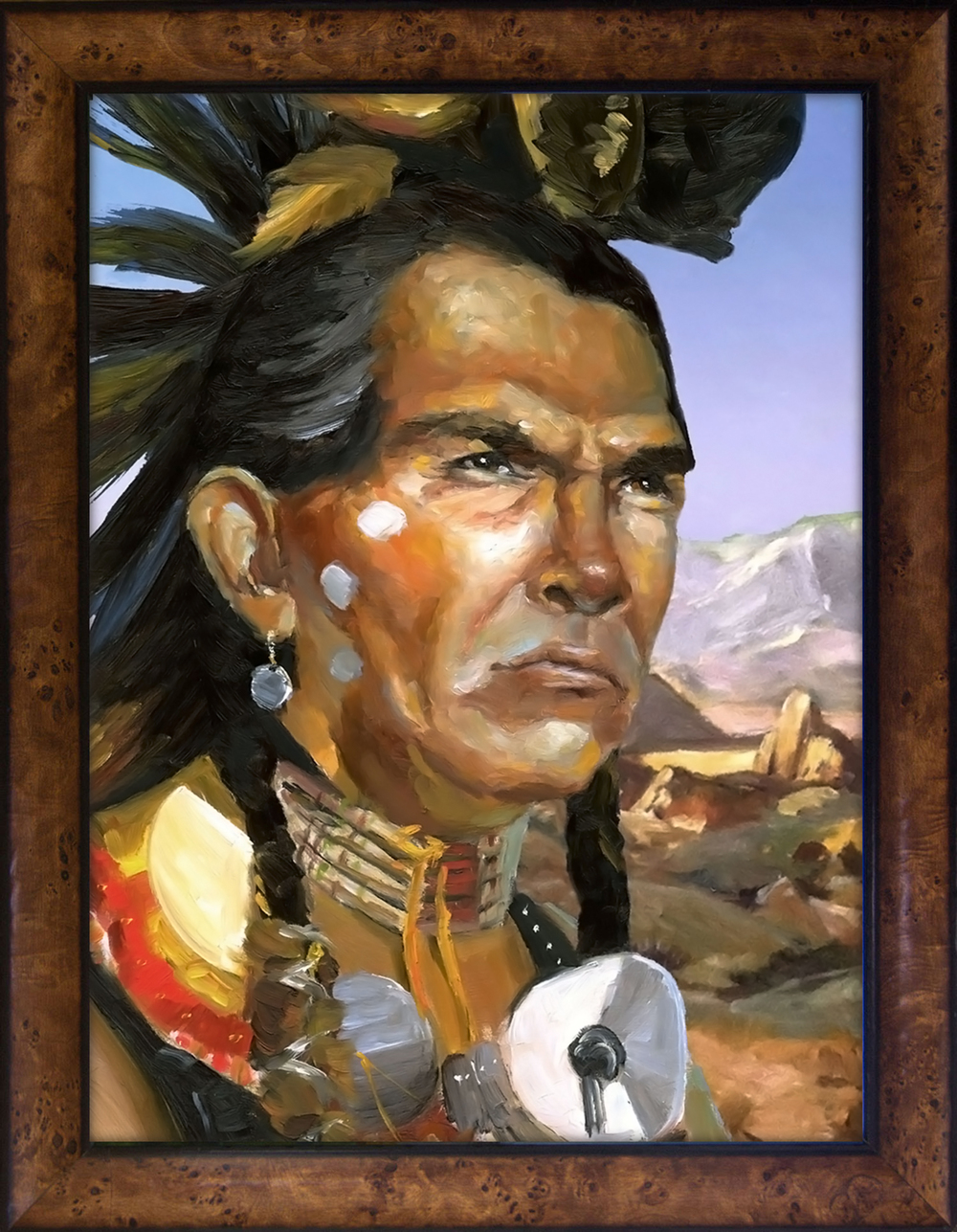 "Great Basin Native American, 9"" x 12"" Oil on Panel  _______   PRICING $"