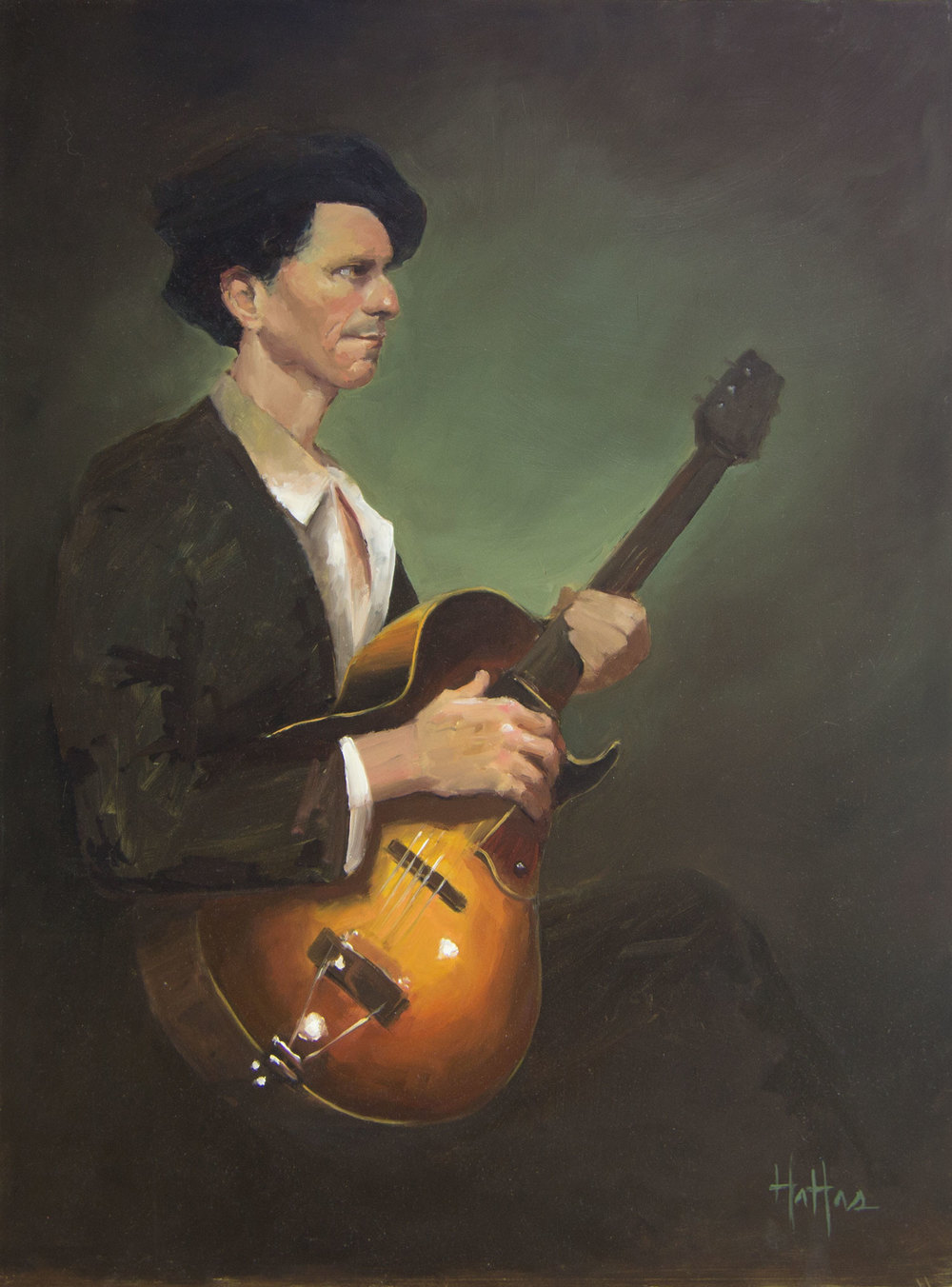 "A Man and His Guitar, 18"" x 24"" Oil on Panel  _______   PRICING $"
