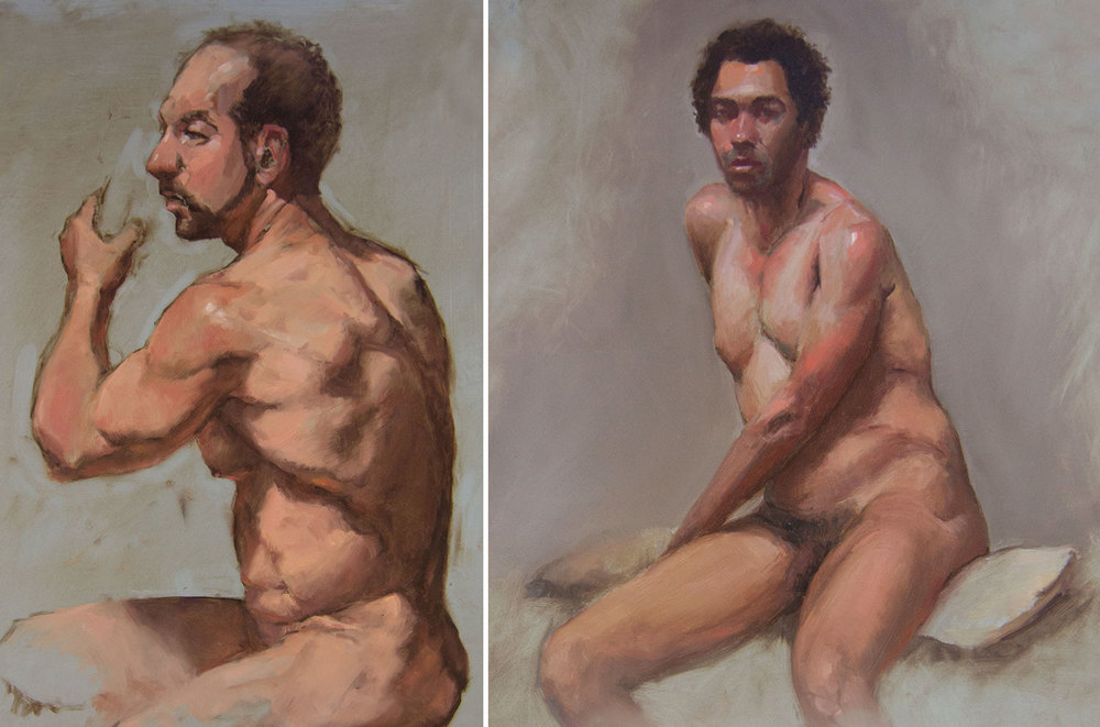 "Model Sketches, Each 18"" x 24"" Oil on Panel  _______   PRICING $"