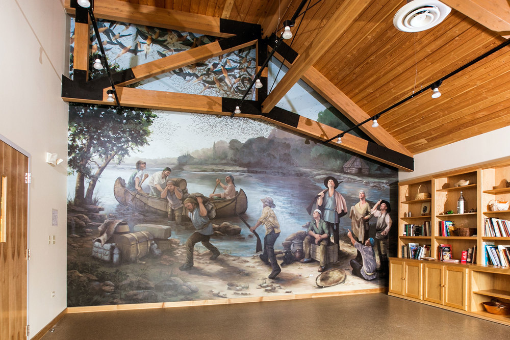 """Isle a la Cache Museum, """"Passenger Pigeons over Voyageurs"""" _______   VIDEO ►    DETAILS  ✎"""