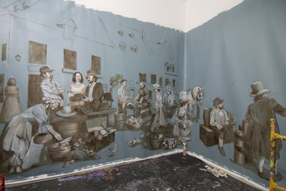 Mural in progress in Los Angeles studio