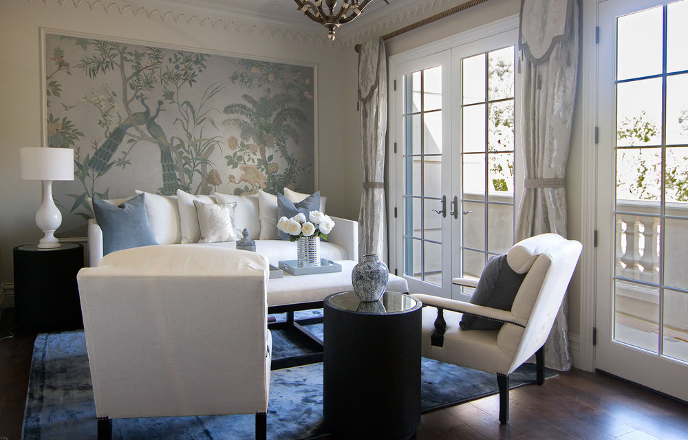 Master Bedroom Sitting Room, Chinoiserie on Canvas