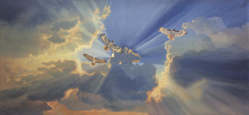 Trinity of Hawks above of the San Gabriel Mission, San Gabriel, CA