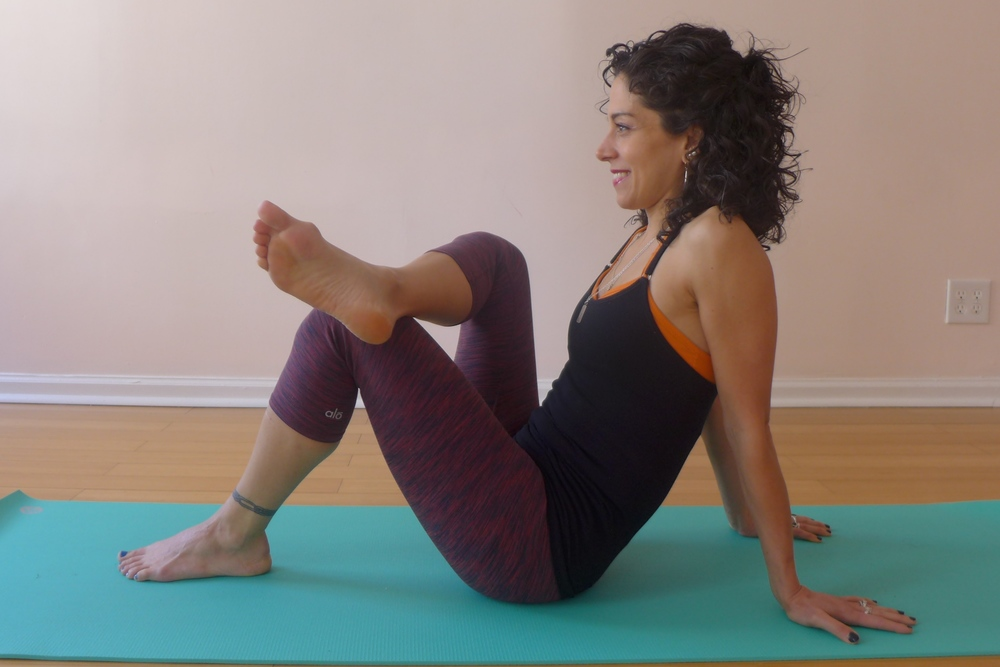 ANKLE TO KNEE: This is a good variation to protect your knees and isolate the stretch in the outer hips. Press down into your hands and feet. For a more intense stretch, bring your grounded foot closer to your sitting bones. Engage the core. Hold for 10 breaths, then change sides. You can also do this pose on your back.