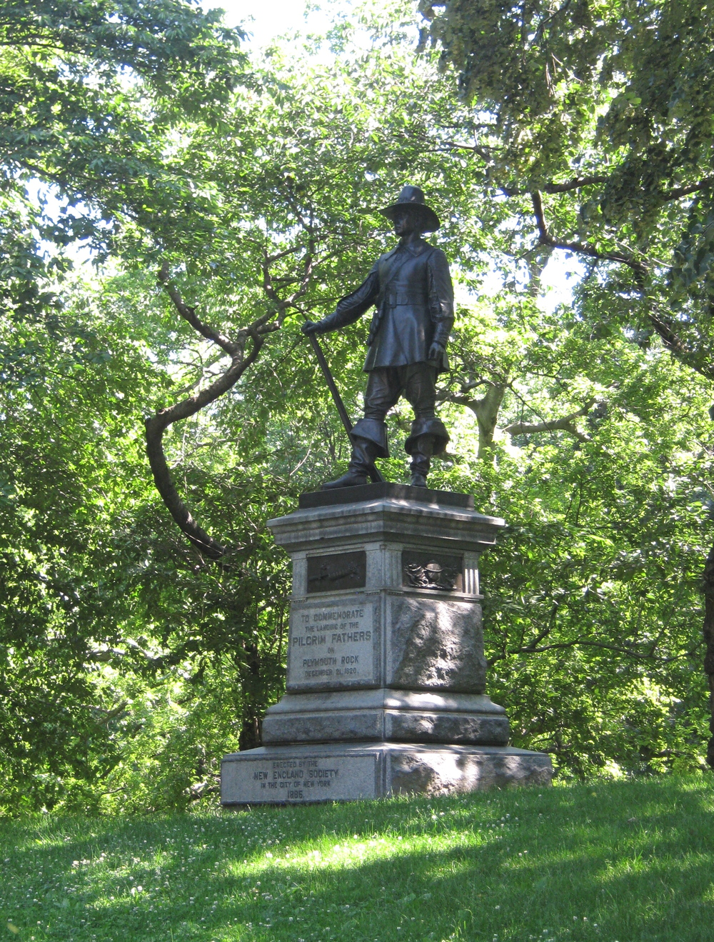 Given by the New England Society to the City of New York in 1885, this statue of the Pilgrim sculpted by John Quincy Adams Ward, is located near the East 72nd Street entrance to Central Park. Photo by Anne Hall Elser.