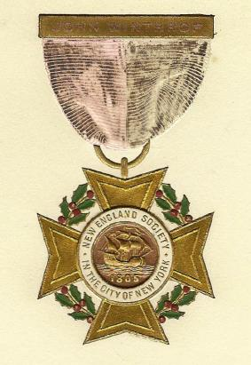 The New England Society insignia features the Mayflower, and holly and holly berries representing good will, defense, happiness, and foresight. This bronze and enamel medal was struck for the Society in the late 19th century.