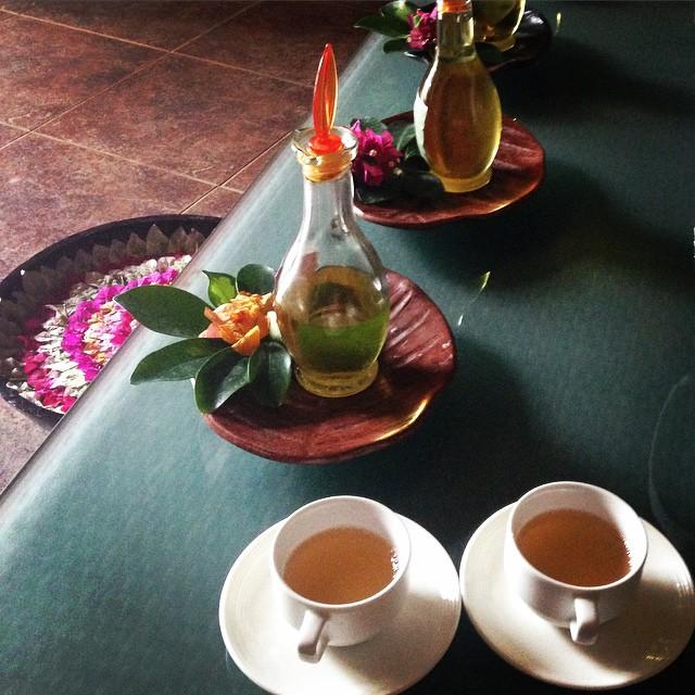 Salabat tea before spa time in Palawan at the Sheridan Resort