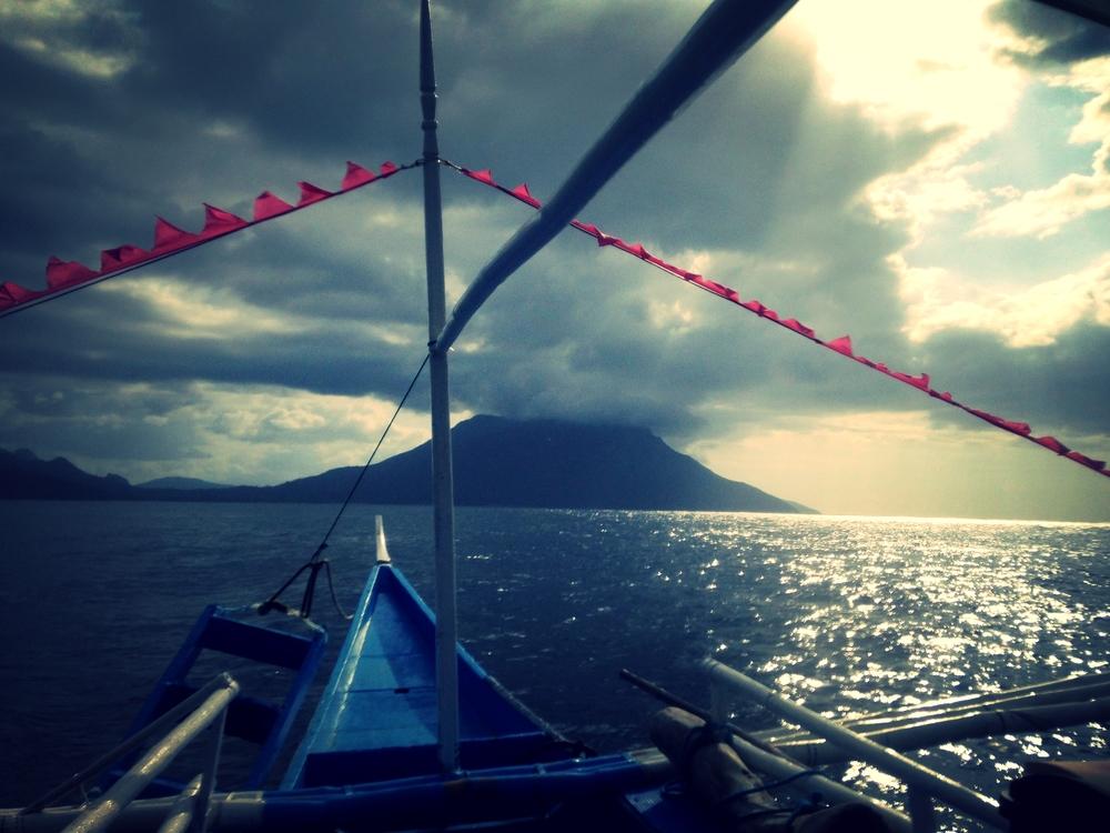 On a catamaran at dusk in Palawan