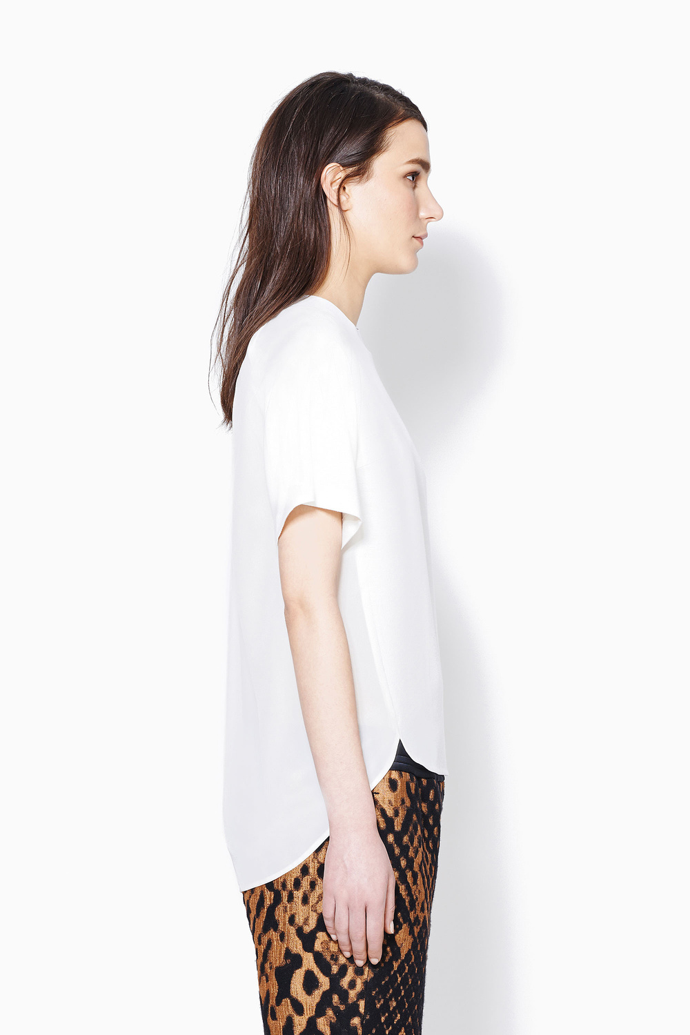 PL JERSEY AND CDC BONDED TEE WITH GATHERED SILK BACK b