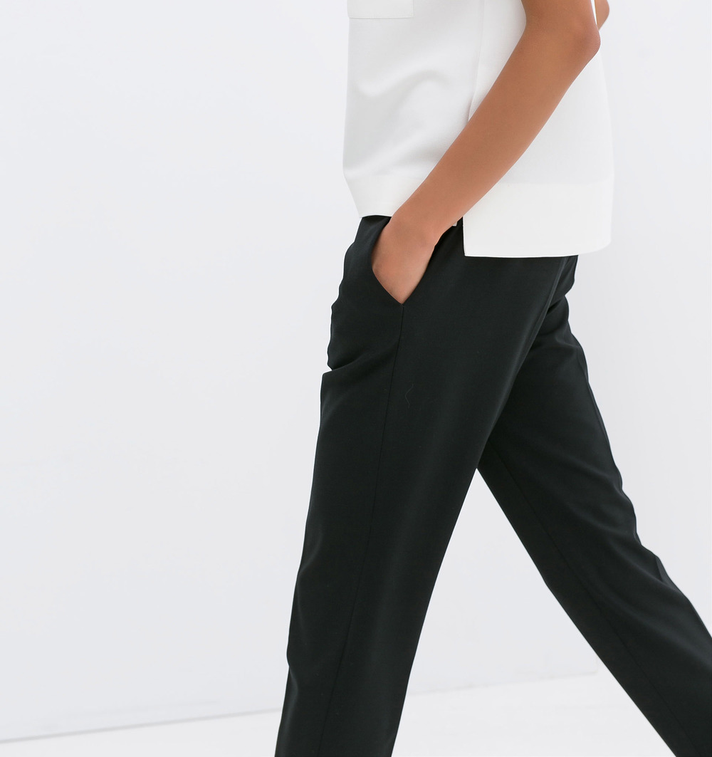 Zara Black Drawstring Trousers