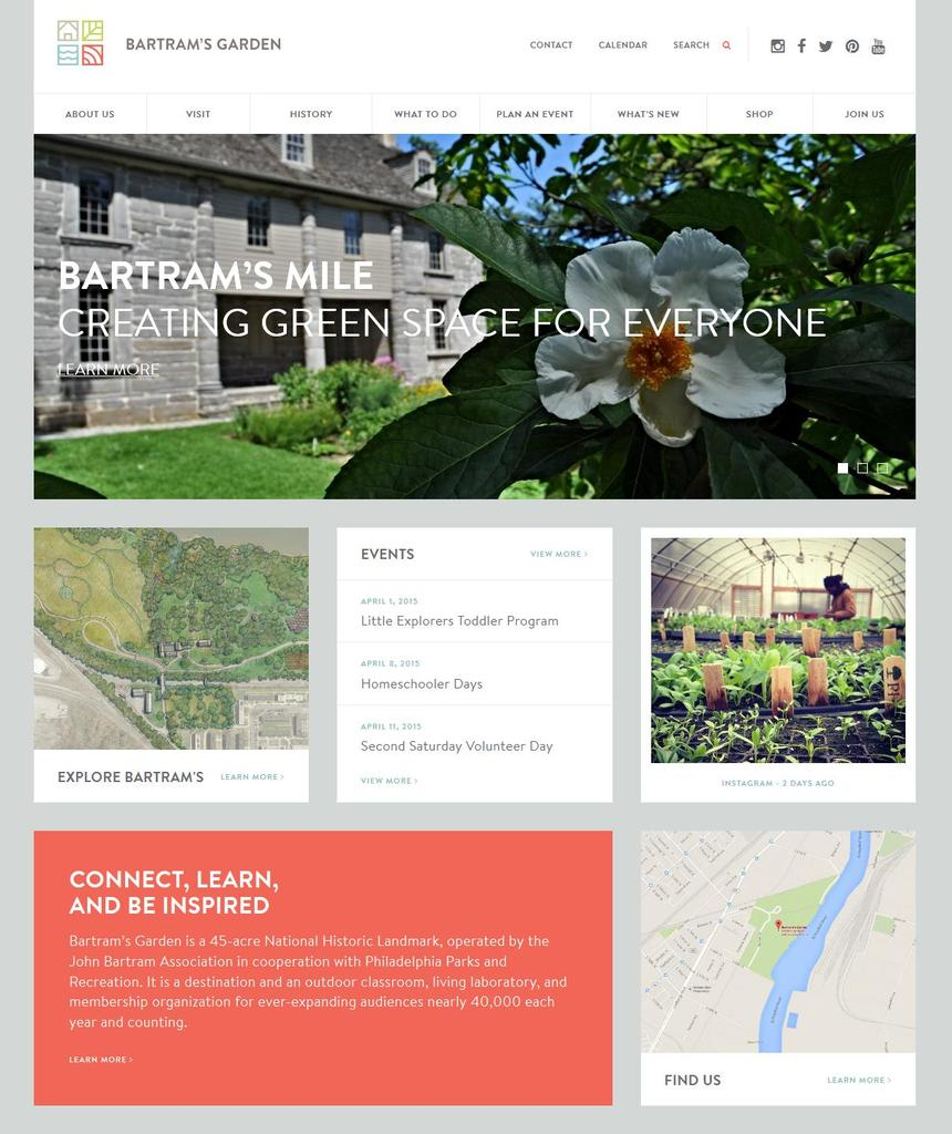 Bartram's Garden website screen shot