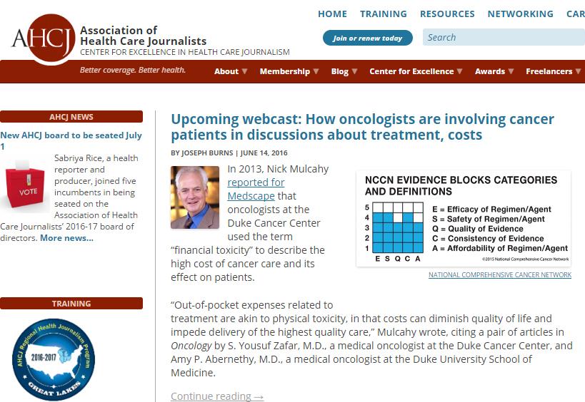 AHCJ homepage