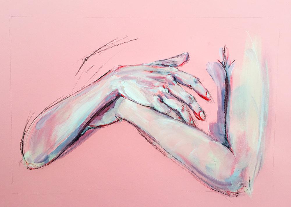 Hand Study on Pink 1