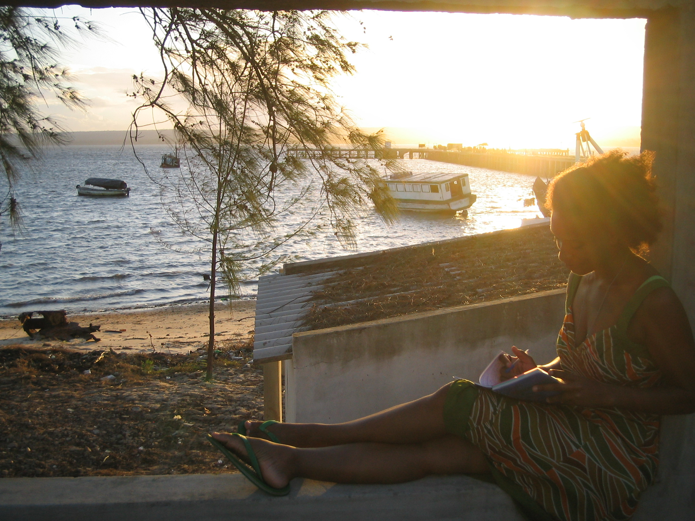 My favorite writing spot in Inhambane, Mozambique was in the window of an abandoned Portuguese colonial hotel.