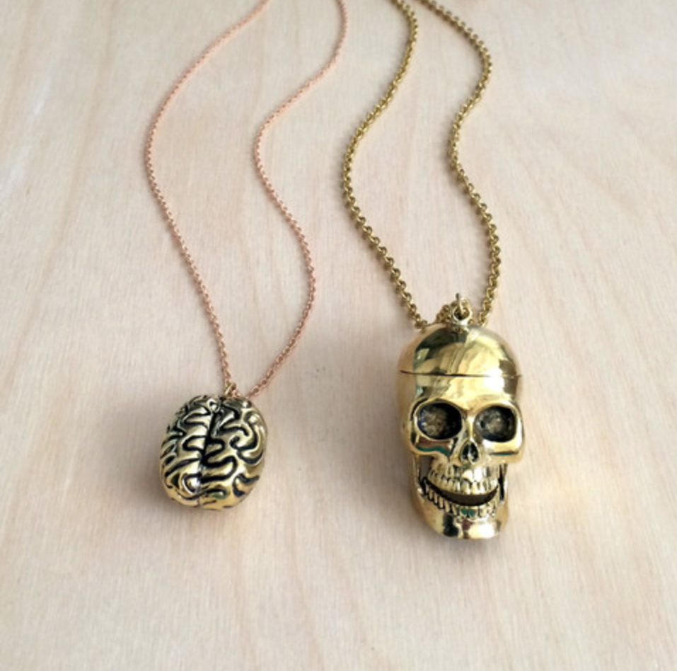 SKULL WITH BRAIN 2PC BRASS NECKLACE