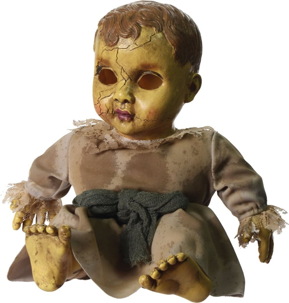 this sound activated haunted doll will send your guests screaming into the next room with phrases like come play with me and im watching you this