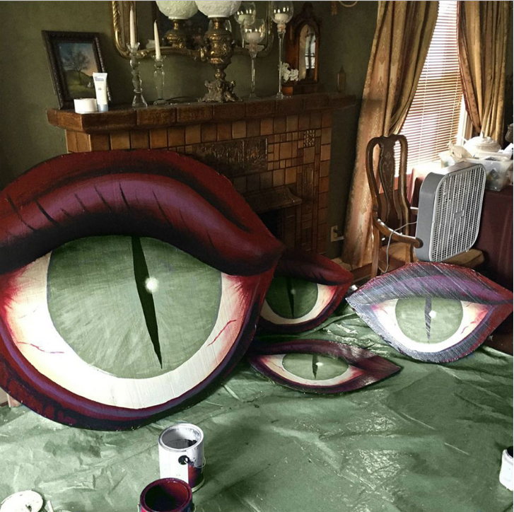 Photo: Christine McConnell; A work in progress ... the monster eyes as the paint dries