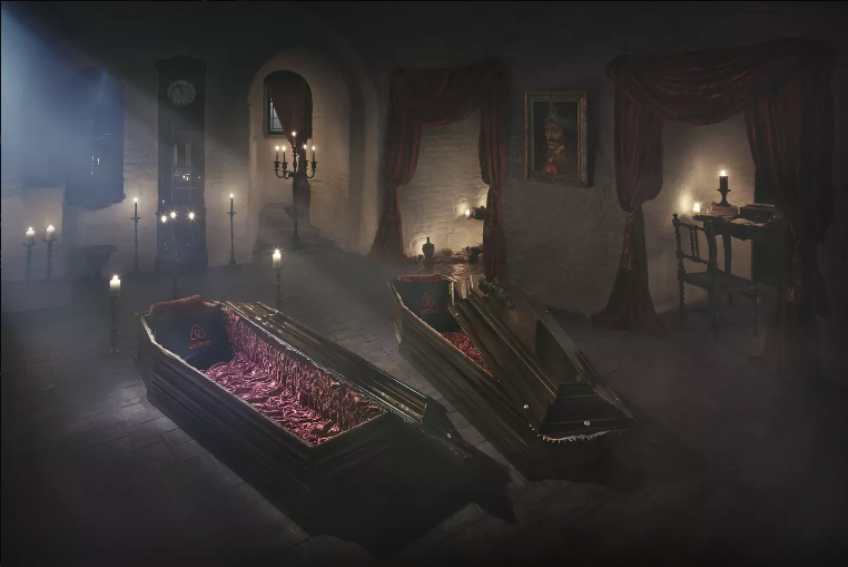 Spend the night in Dracula's Vault where you can sleep in the Count's coffin! Photo via Airbnb