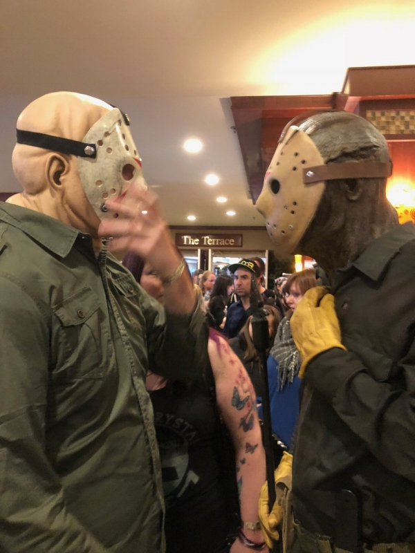 Two Jason cosplayers discuss costuming techniques