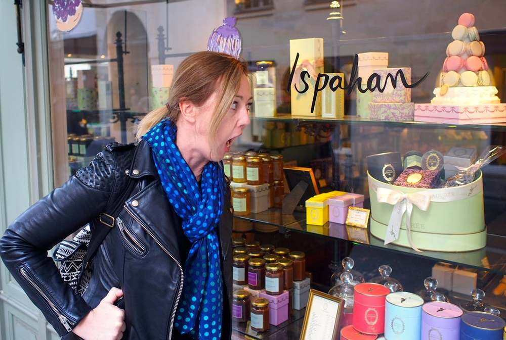 On the wrong side of the window of Ladurée, Saint-Germain-des-Prés. Don't worry about me, I didn't starve.