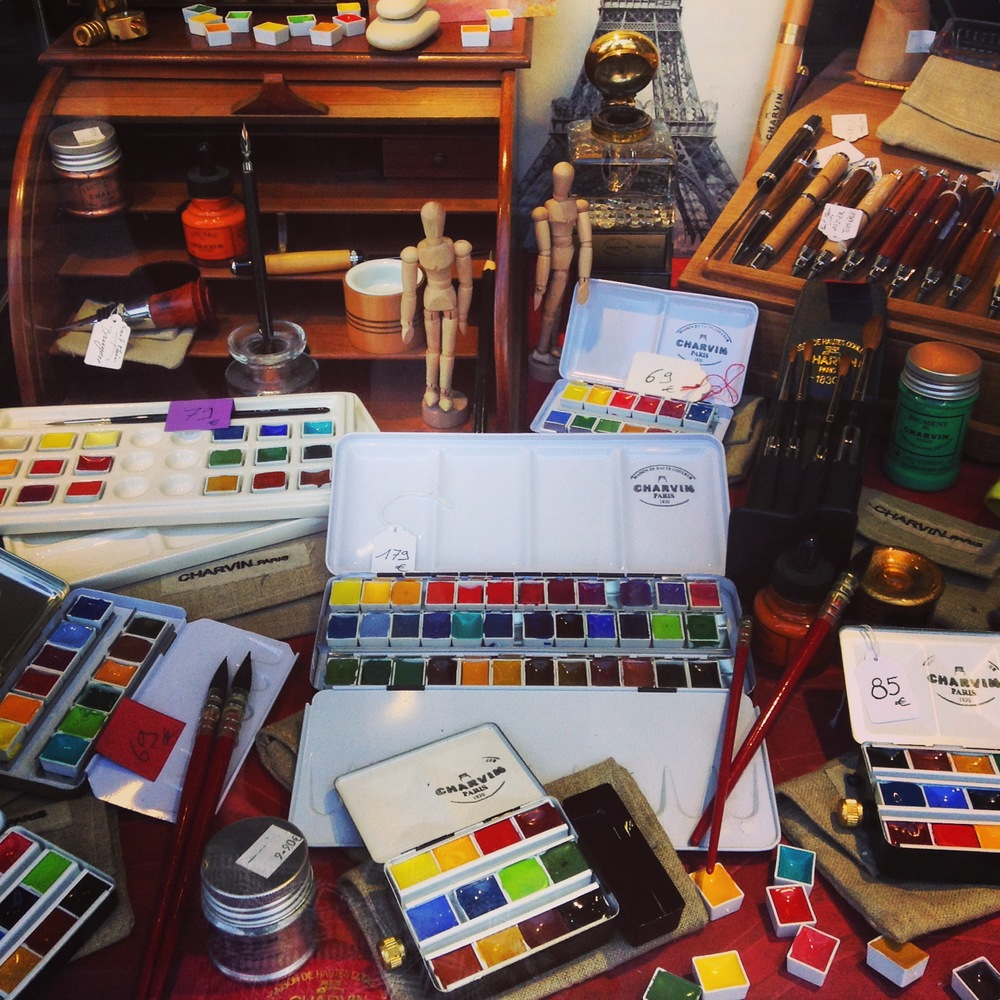 I went to this shop three times and finally did end up with one of these watercolor palettes! They also make their own ink and pigments. Charvin, Maison de Haute Couleur
