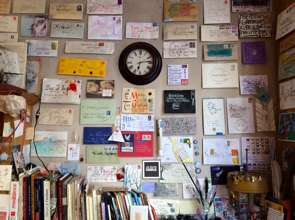 Beautiful envelopes that have been received, on the wall of Melodies Graphiques