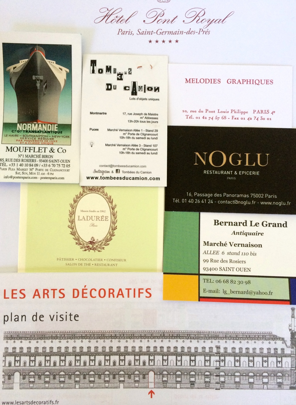 Some cards and contact info from places that I would have no qualms about recommending. If I could find their card, I'd also ad the Fabriano paper and pen store on the Rue du Bac whose proprietress is very friendly and helpful. It occupies the spot where the old ink store Georges & Co., used to be, which is how I ended up in there.