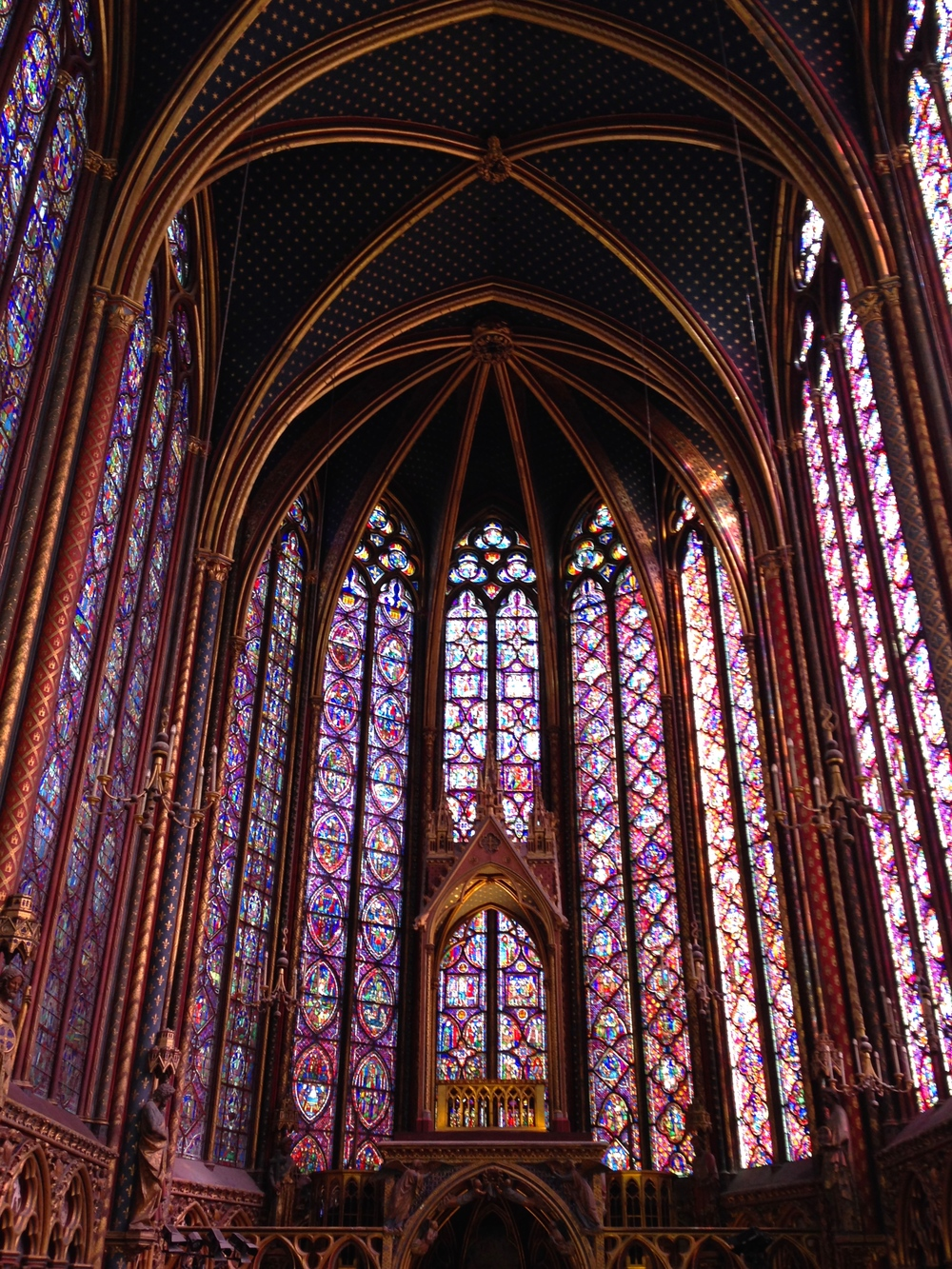 The upper cathedral of Sainte-Chappelle. Indescribably tall, indescribably breathtaking.