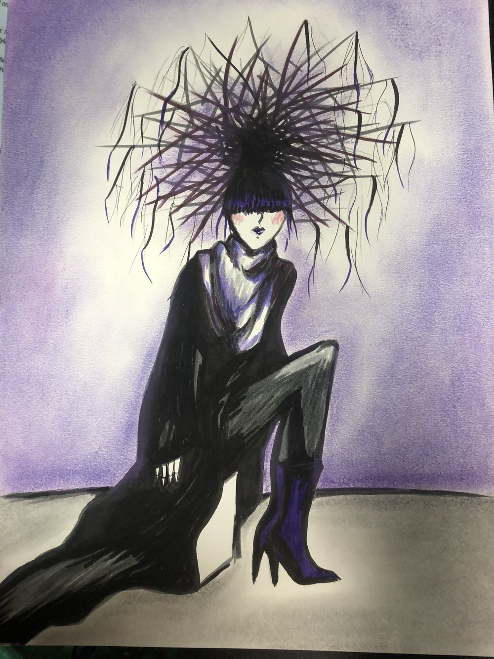 """Sketch of look for """"Darkness."""" Inspired by team members Jade & Cory's vision"""