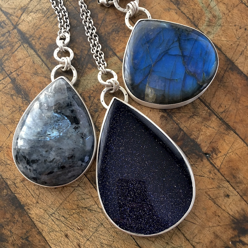 Norwegian Moonstone, Blue Goldstone and Electric Blue Labradorite